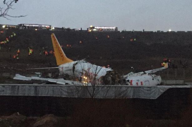 هواپیمای ترکیه ای هنگام فرود در استانبول سه تکه شد